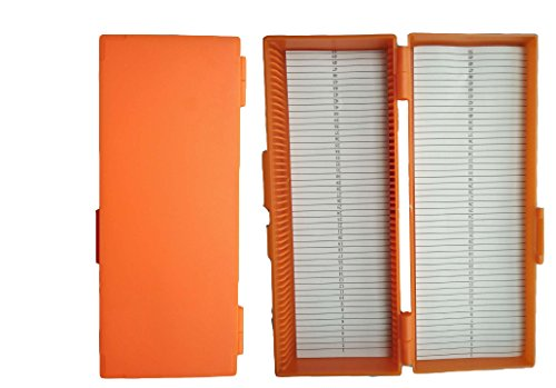 50-Place Microslide Slide Microscope Box Glass Slides Box(Orange)