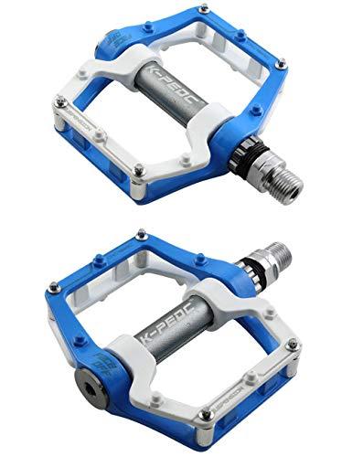 Pedali Bici Flat MTB Pedale Bicicletta Pedali Flat da Bici di Alluminio CNC 9/16',Pedale mountain bike alluminio-blu/bianco