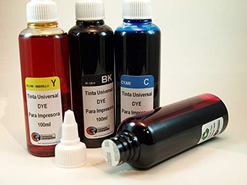 Tinta Universal Compatible para HP, Brother, Canon, Lexmark. 4 X 100ML (Negro+Cyan+Magenta+Amarillo)