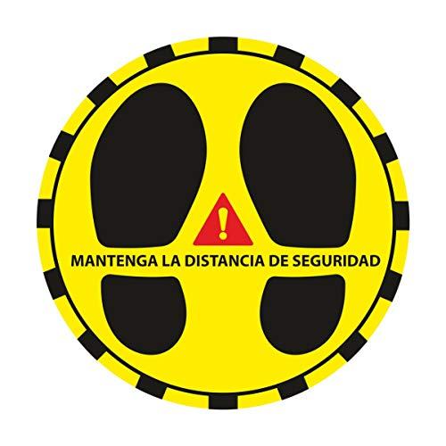 Kit Pegatinas Distancia de Seguridad (Circulares), con lamina de protección antideslizante, validas para el suelo. Super Resistente, y de regalo pegatina todo saldrá bien