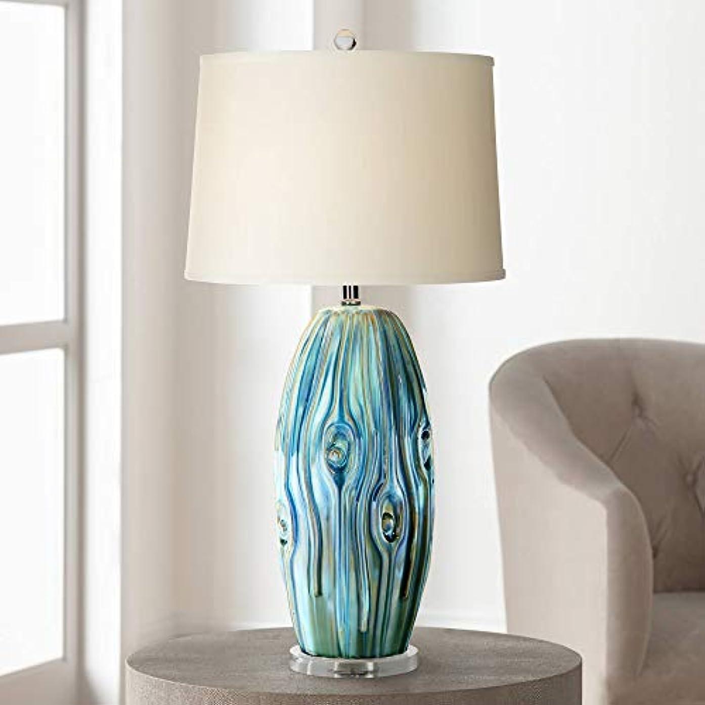Eneya Coastal Table Lamp Ceramic Blue Green Swirl Glaze Neutral Oval Shade for Living Room Family Bedroom Bedside - Possini Euro Design