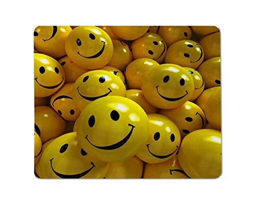 Yeuss Expressions Rechteckiges, rutschfestes Mauspad, mehrere gelbe, süße Billard Smiley Gesichtsausdrücke, Gaming Mauspads, 200 mm x 240 mm