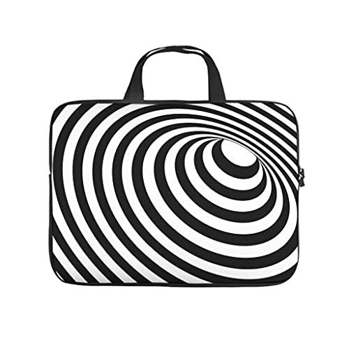 Funda para portátil con diseño psicodélico en 3D de círculos negros y blancos, resistente al agua, de neopreno, funda para portátil, funda para tablet, accesorios, blanco, 13 pulgadas,