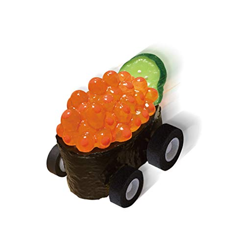 寿司Boon(いくら軍艦)/ 食品サンプルのプルバックカー / 後ろに引っ張って手を離すと走り出す / 食品サンプル専門店が忠実に造った「ハイクオリティ」なおもちゃ / お寿司が大好きなご家族やご友人への贈り物に / チョロQやミニカーが好きなお子さんへの