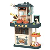 Kitchen Playset for Girl Boy - Kids Simulation Kitchen Role Play Game, Pretend Cooking Food Toy with Sounds,...