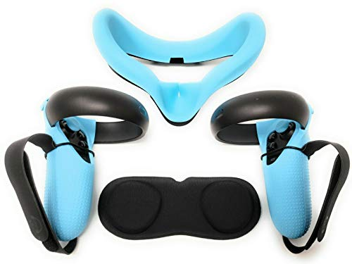 TNE Accessories Bundle Kit for Oculus Quest 1 VR Headset & Controllers   Headphones/Earphones, Silicone Face Cushion Cover, Grip Case, Knuckle Hand Strap, Lens Cover Pad, Thumbstick Caps (Light Blue)