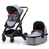 Mompush Full-Size Standard Stroller, One-Step Fold, Full Size Front or Rear Facing Toddler Seat, X-Large Easy-Access Basket, Sleek & Versatile (Grey)