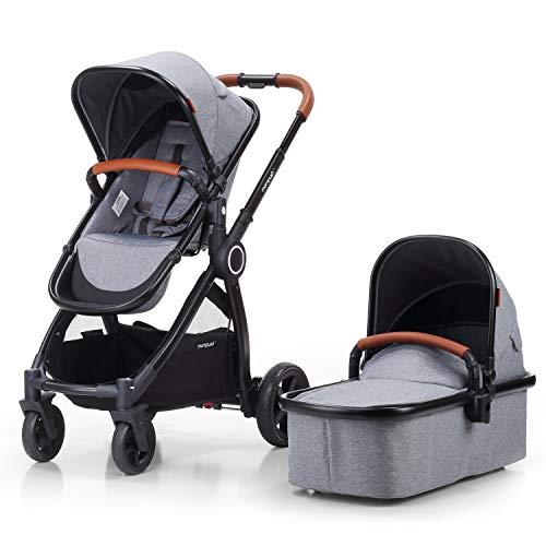 Mompush Full-Size Standard Stroller, One-Step Fold, Full Size Front or Rear Facing Toddler Seat, X-Large Easy-Access Basket, Sleek & Versatile (Grey)