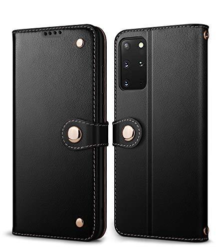 HPDUNO Funda para Galaxy S20 Plus, Funda de Piel Auténtica, con Tarjetero, Cierre Magnético, Carcasa Interior de TPU, Funda con Tapa para Samsung Galaxy S20+ 5G de 6,7' (Negro)