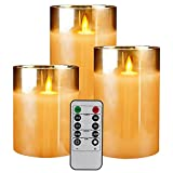 Flameless Led Candles Flickering,Yinuo Candle Real Wax Fake Wick Moving Flame Faux Wickless Pillar Battery Operated Candles with Timer Remote Glass Effect for Festival Wedding Home Party Decor