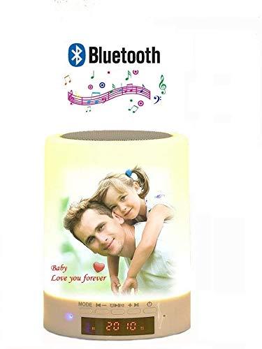 Sawera Lámparas de mesa Foto personalizada Lámpara Luz Nocturna con Altavoces Bluetooth 7 Cambio de color, LED Lámpara de Mesa, Regalo para Mujeres Hombres Adolescentes Niños