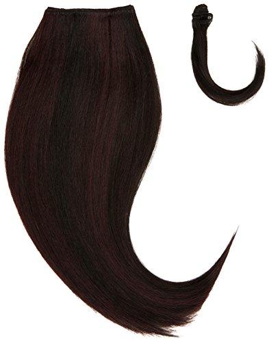 chear soyeux cheveux Yaki Raides trame Extension de cheveux humains avec de mélange tissage, Nombre P1B/99J, Off Noir/Vin foncé, 35 cm