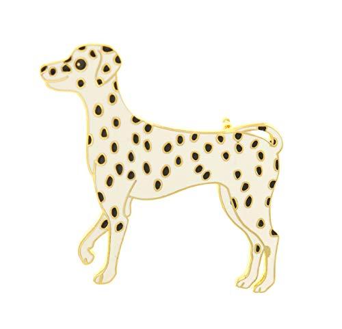 behave® Damen Broche Dalmatiner Hund aus Emaille - weiß - 6cm Größe