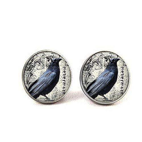 Poe's Raven Earrings, Poe Nevermore Goth Literary Earrings, Jewelry,Mens Chain Women Charm