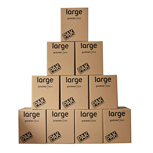 StorePAK Heavy Duty Large Storage Boxes / Strong Moving Box, 107 Litres - H55 x W46 x D46 cm (Pack of 10)