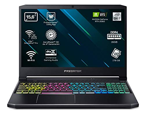 Acer Predator Helios 300 PH315-53 - Ordenador Portátil Gaming 15.6' Full HD, Gaming Laptop (Intel Core i7-10750H, 16B RAM, 1TB SSD, Nvidia RTX2060, Sin SO), PC...