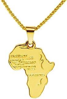 عقد بقلادة للجنسين مطلية بالذهب عيار 18 قيراط بتصميم خريطة افريقيا الملائمة كهدية