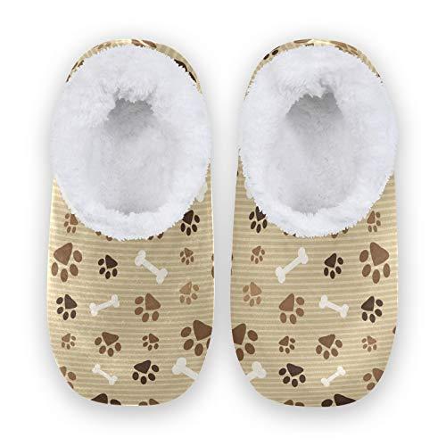linomo Zapatillas de estar por casa unisex con estampado de huellas de perro, gato, para invierno, cálidas en el interior, para dormitorio, calcetines, color Multicolor, talla 34/36 EU