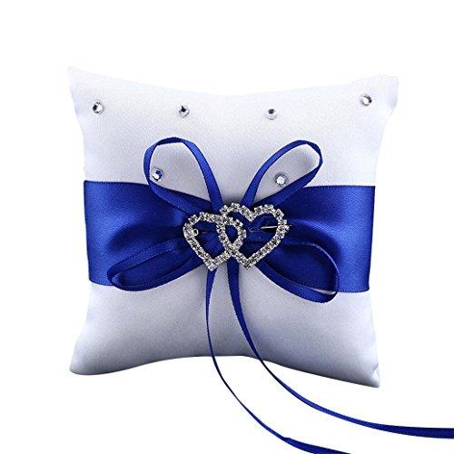 Gemini_mall® Coussin porte-alliances double cœur en strass Bleu 10 x 10 cm