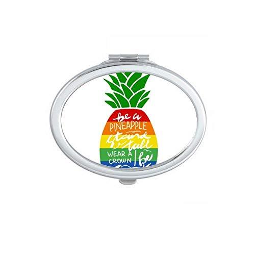 Ananas Regenboog LGBT Vlag Quote Ovaal Compact Make-up Spiegel Draagbare Leuke Hand Pocket Spiegels Gift