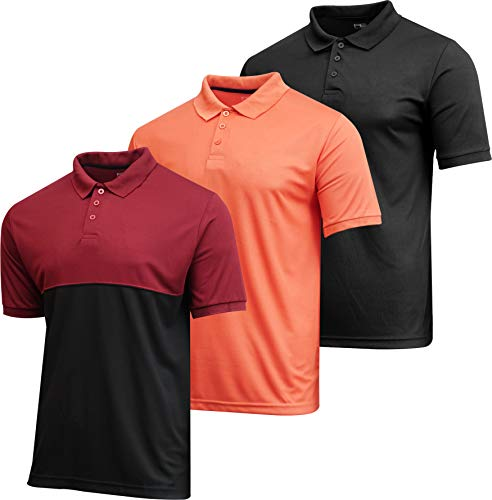 3 Pack:Mens Quick Dry Fit Polo Shirt Short Sleeve Golf Tennis Clothing Active Wear Athletic Performance Tech Sports Essentials Moisture Wicking Casual Dri-Fit T Shirts,Set 1-XL
