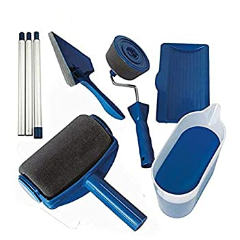 Paint Roller Kit Multifunctional Paint Runner Set Pro Roller Wall Brush Painting Room Handle Edger Flocked Tools Home Office Wall Printing Tool Set US Stock  6 Pack Blue