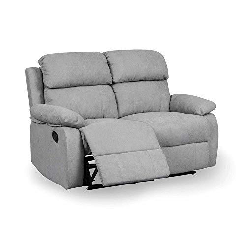 DecoInParis - Sofá Relax de 2 plazas de tela Keaton (gris)