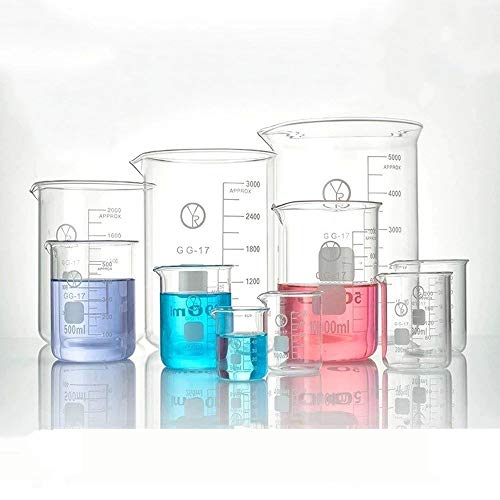 Meetbekerset 10 stuks glazen beker gegradueerde maatbeker glas gegradueerde bekerset (50 100 200 250 300 500 1000 2000 3000 5000 ML)