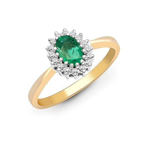 Jewelco Europa Señoras Oro Amarillo 9k 0.12ct Diamante 0.52ct Esmeralda compromiso anillo