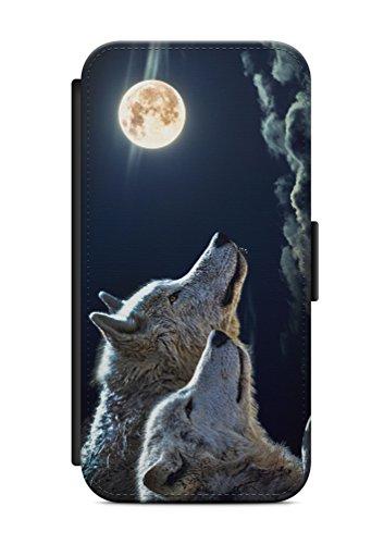 aina Kompatibel mit Samsung Galaxy S9 Flipcase Handytasche Hülle mit Magnetverschluss auffklappbar Wolf Motiv Bild