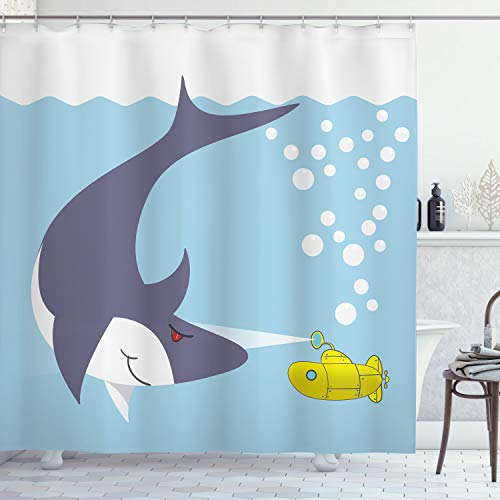 """Ambesonne Yellow Submarine Shower Curtain, Dangerous Shark Fish Print of Vessel in Ocean Bubbles Under Sea Theme Animals Cartoon, Cloth Fabric Bathroom Decor Set with Hooks, 84"""" Long Extra, Blue Gray"""