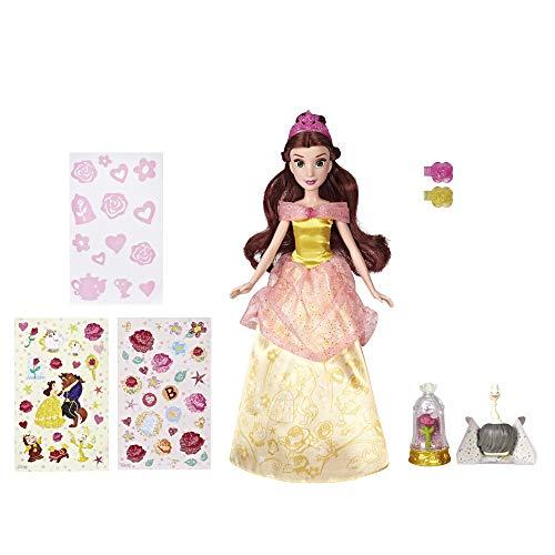 Hasbro Disney Prinzessinnen E5599EU4 Die schöne Glitzerprinzessin, Puppe mit Glitzer-Streuer und Zubehör, Multicolor