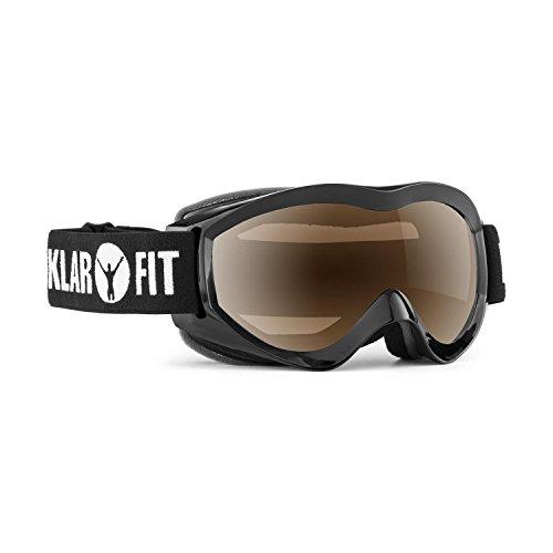 Klarfit Snow View Skibrille Snowboardbrille Mirror Coating Vollrahmen (teilverspiegelte Oberfläche, direkt belüfteter Innenrahmen, Kratz- und bruchfestes Kunststoffglas mit Vollrahmen) schwarz