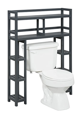 New Ridge Home Goods Dunnsville 2-Tier Space Saver with Side Storage, Graphite