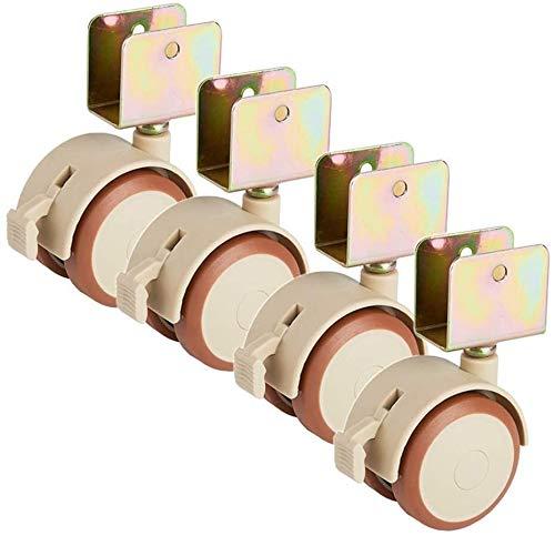 2inch CIB CIRTERS U Soporte de goma silenciosa Rueda de gemelas giratorias universales Muebles de madera giratorios con freno 160kg for pecho de madera de leña Azulejo 4 páginas ( Size : 22mm groove )