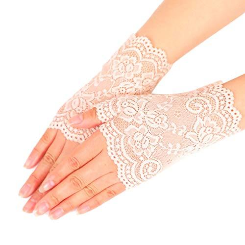 Junhouse Fingerlose Spitzenhandschuhe für Damen, UV-Schutz, Sonnenschutz, Fahrhandschuhe, Hochzeit, Party, Kostüm, Handschuhe