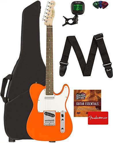 Fender Squier Affinity Telecaster - Competition Orange Bundle with Gig Bag, Tuner, Strap, Picks, and Austin Bazaar Instructional DVD