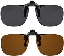 Clip On Sunglasses Flip Up Polarized Sunglasses Clip onto Eyeglasses Over Prescription Glasses Case Included