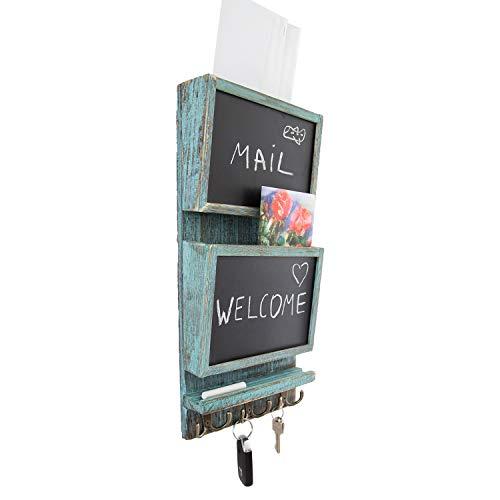 Organizador clasificador de correo rústico de 2 ranuras para pared con superficie de pizarra y 3 ganchos de doble llave - Decorador de pared para entrada hecho de madera de Paulownia - Azul rústico