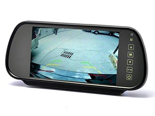 YMPA 17,8 cm 7 Zoll inch Video TFT LCD Monitor Rückspiegel Innenspiegel Spiegel für Rückfahrkamera Rückfahrsystem Auto KFZ PKW Transporter Wohnmobil 12V mit Zwei Videoeingängen LCM-SP7Touch