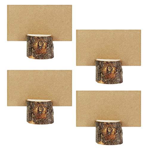 STOBOK Soporte de madera para notas, 10 juegos de madera para tarjetas de corteza con soporte para fotos con tarjetas de papel para decoración de mesa 3. 7x3. 2x3. 7m