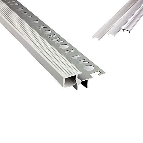 T-40 LED Alu Fliesenprofil Treppenprofil Stufen 10mm silber + Abdeckung Abschlussleiste Fliesen für LED-Streifen-Strip 2m milky
