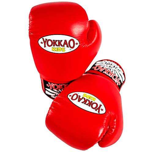 YOKKAO Matrix Muay Thai Boxing Gloves for Kids Childrens Junior Youth 8oz MMA 6oz Black Blue Red Sparring Kid Toddler Baby Best UFC Buakaw Saenchai Boys 12 Ounce Amateur Training Child (Red, 6 oz)