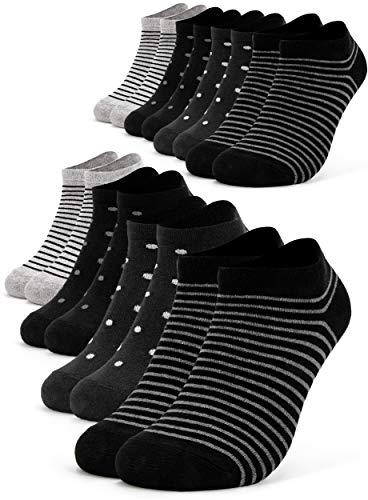 Occulto 8 Paia Calzini Sneaker da Donna | Calzini Corti a Righe, Puntini ed altri Motivi | Calze Carine Donna in Cotone 35-38 Nero