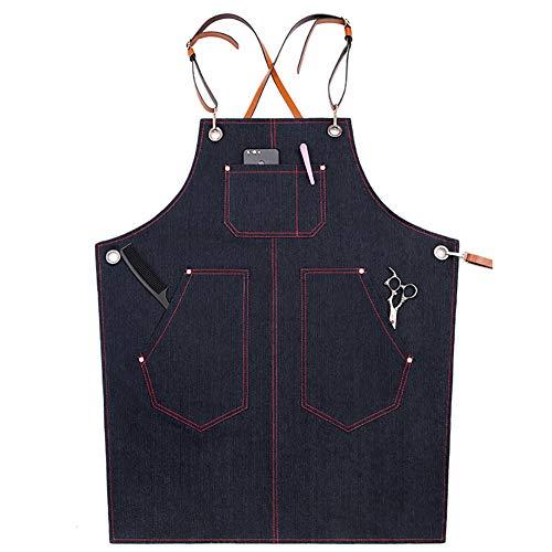 TUYU Schürze aus gewachstem Segeltuch Jeans-Arbeitsschürze mit wasserfester Funktion verstellbarer Rückenlehne mit Werkzeugtaschen Lederriemen TYDWQ163