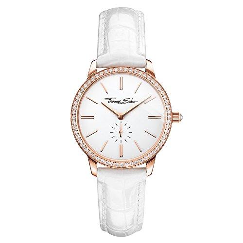 THOMAS SABO Damen Analog Quarz Uhr mit Leder Armband WA0251-215-202-33 mm