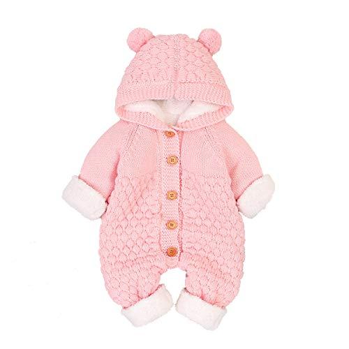Camidy Baby Overall Kleinkind Einteilige Outfits Strick Fleece Kapuze mit Knopf Bodysuit für 3-24 Monate Babys