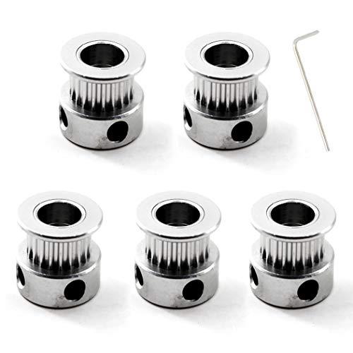 GT2 Zahnriemenscheibe 20 Zähne 8mm Bohrung für 6mm Zahnriemen 3D Drucker Packung mit 5 (Schraubenschlüssel enthalten)