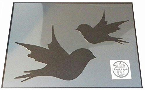 Solitarydesign Shabby Chic Schablone 2 Größen Vögel Schwalben Rustikaler Mylar-Stil A4 297 x 210 mm Wandkunst