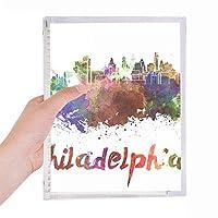 フィラデルフィアアメリカ 市の水彩画 硬質プラスチックルーズリーフノートノート